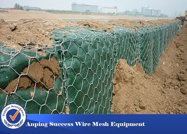 China PVC Coated Hot Dipped Gabion Wire Mesh For Flood Bank Customized Length supplier